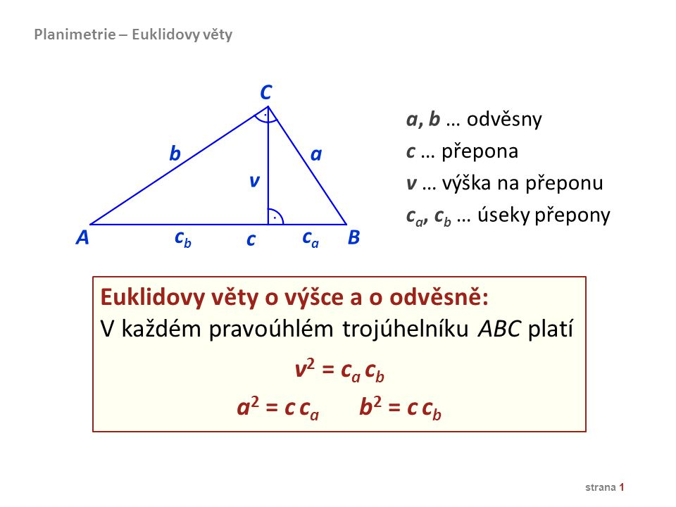 Euklidovy věty o výšce a o odvěsně: