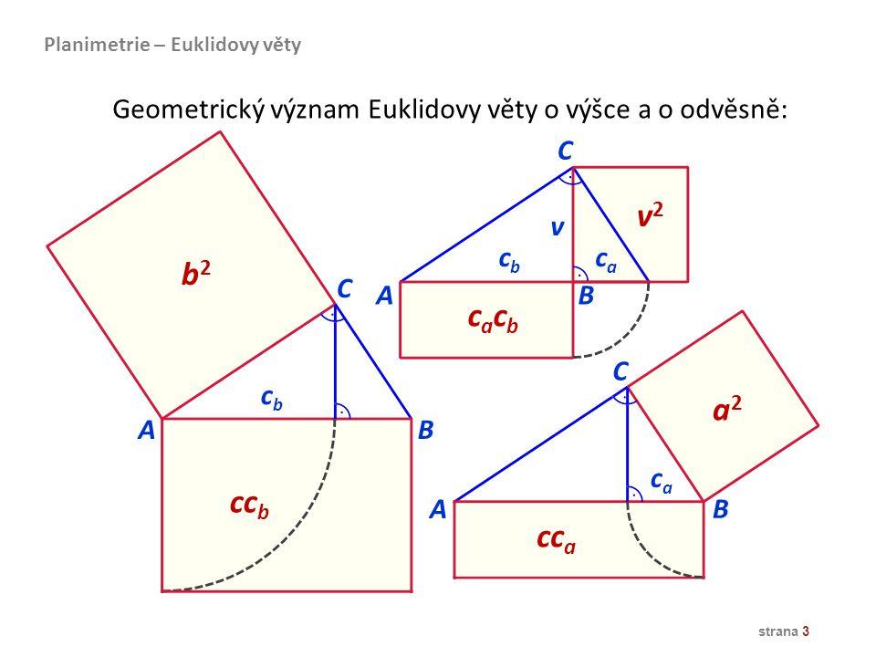 Planimetrie – Euklidovy věty