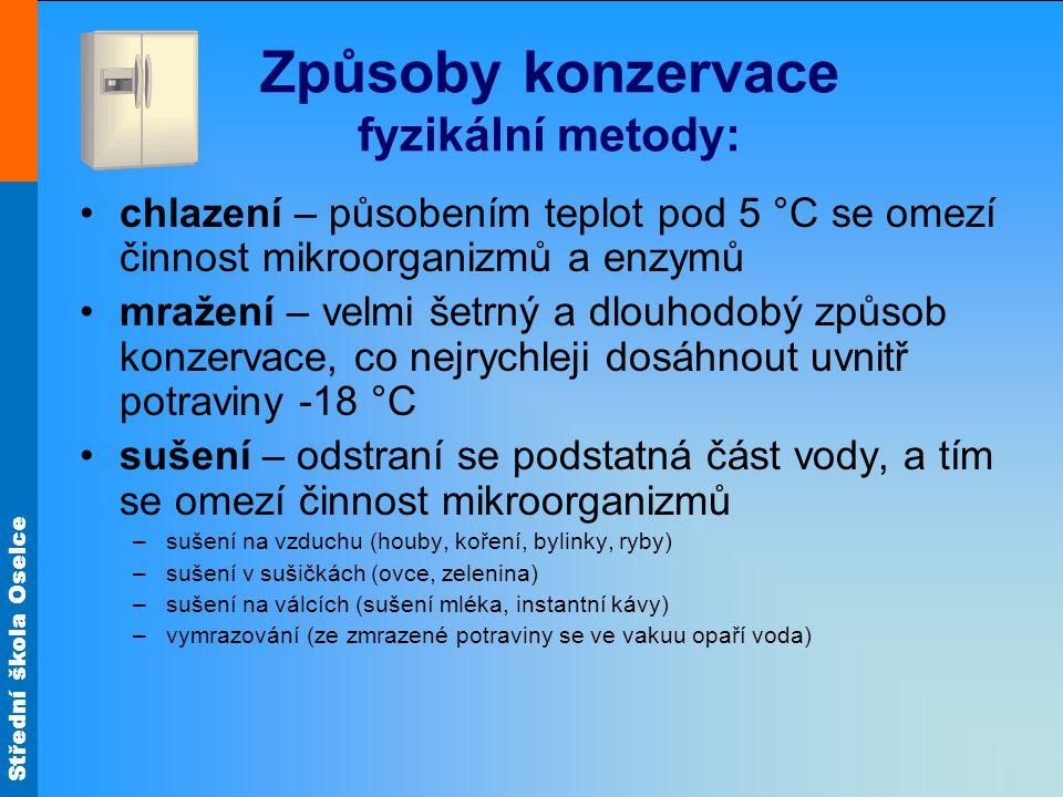 Způsoby konzervace fyzikální metody:
