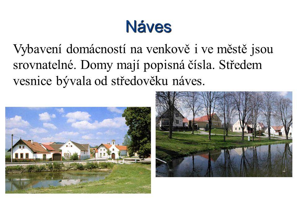 Náves Vybavení domácností na venkově i ve městě jsou srovnatelné.