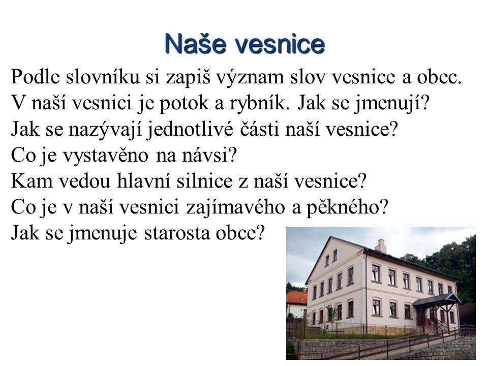 Naše vesnice Podle slovníku si zapiš význam slov vesnice a obec.