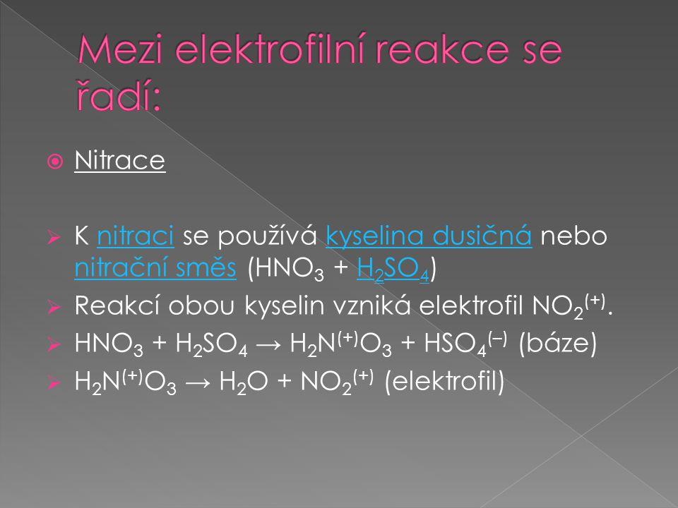 Mezi elektrofilní reakce se řadí:
