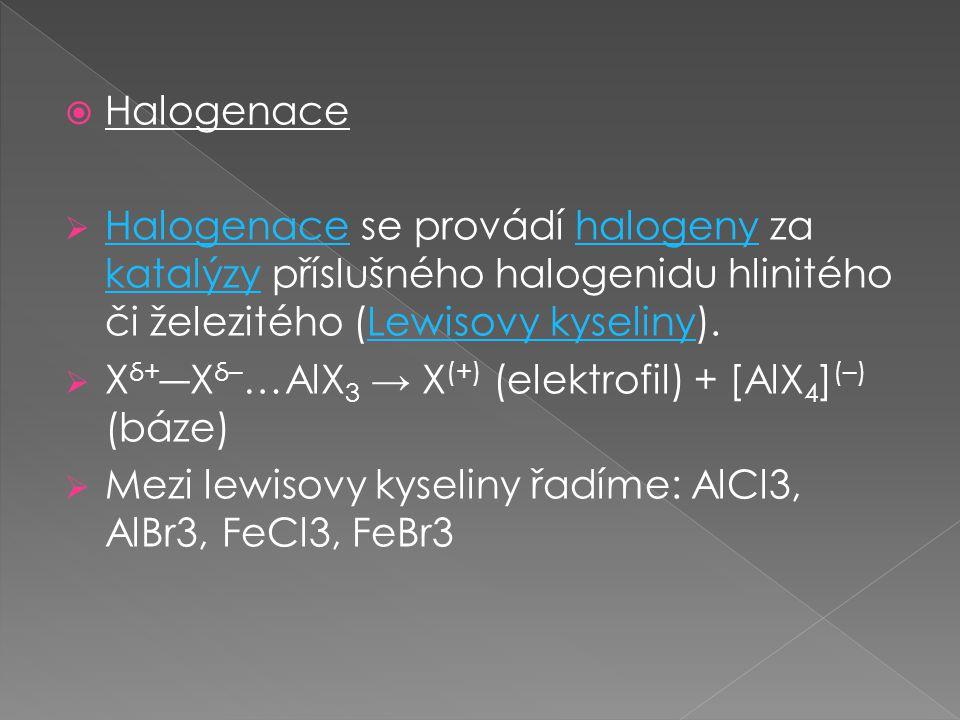 Halogenace Halogenace se provádí halogeny za katalýzy příslušného halogenidu hlinitého či železitého (Lewisovy kyseliny).