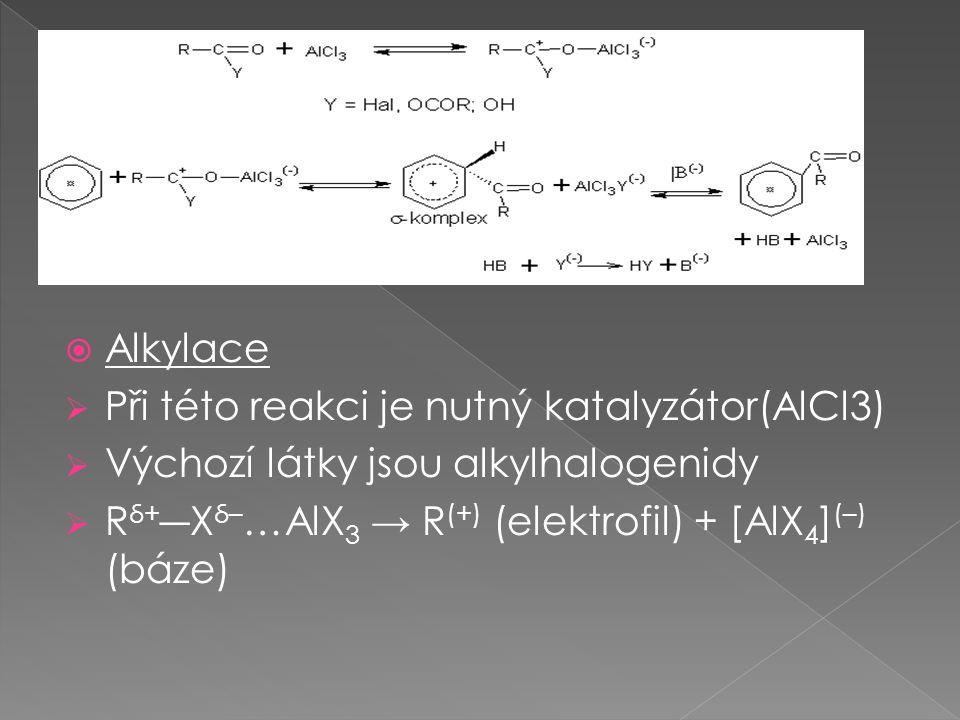 Alkylace Při této reakci je nutný katalyzátor(AlCl3) Výchozí látky jsou alkylhalogenidy.
