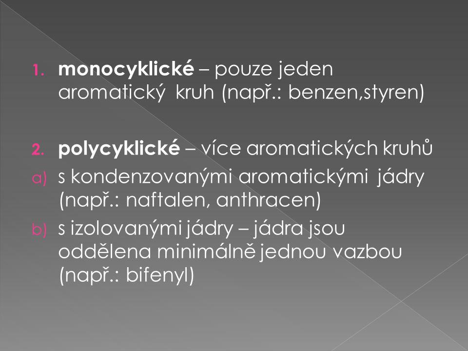monocyklické – pouze jeden aromatický kruh (např.: benzen,styren)