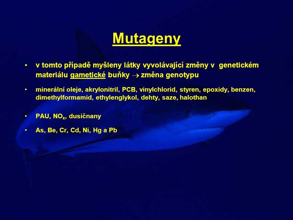 Mutageny v tomto případě myšleny látky vyvolávající změny v genetickém materiálu gametické buňky  změna genotypu.