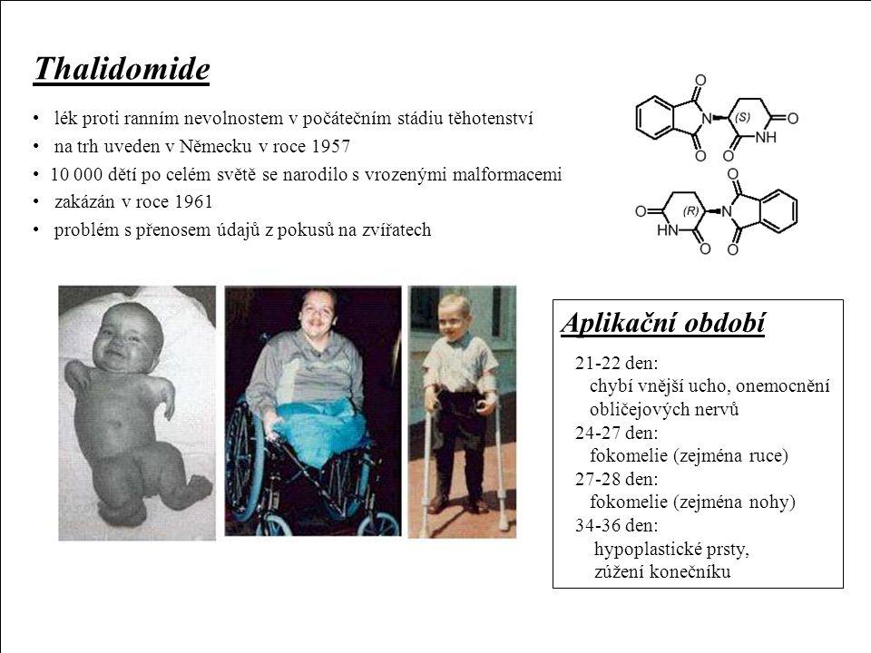 Chemické teratogeny Thalidomide Aplikační období