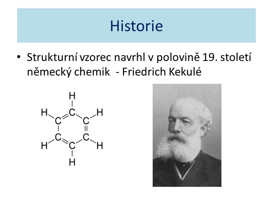 Historie Strukturní vzorec navrhl v polovině 19. století německý chemik - Friedrich Kekulé