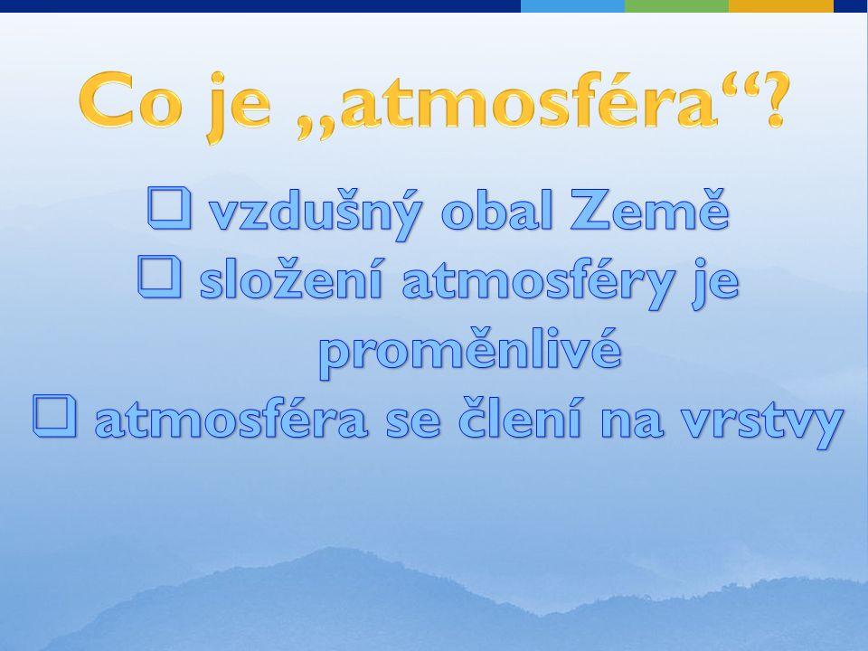 složení atmosféry je proměnlivé atmosféra se člení na vrstvy