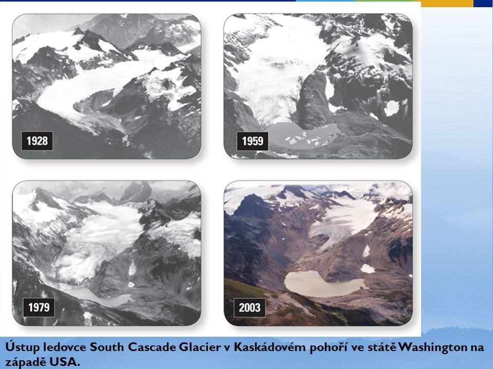 Ústup ledovce South Cascade Glacier v Kaskádovém pohoří ve státě Washington na západě USA.