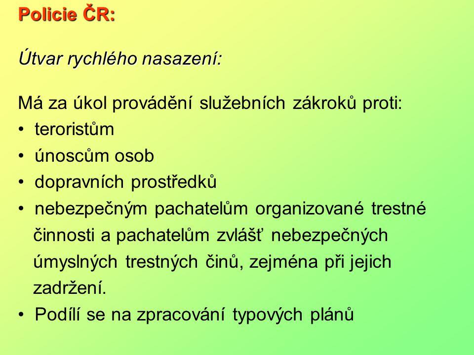 Policie ČR: Útvar rychlého nasazení: Má za úkol provádění služebních zákroků proti: teroristům. únoscům osob.