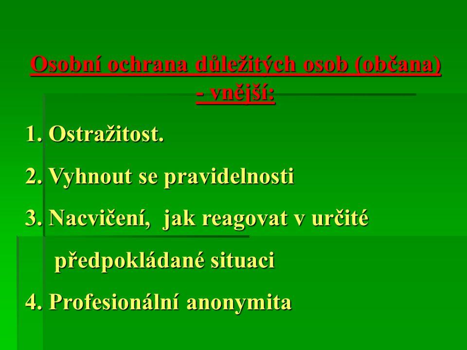 Osobní ochrana důležitých osob (občana) - vnější:
