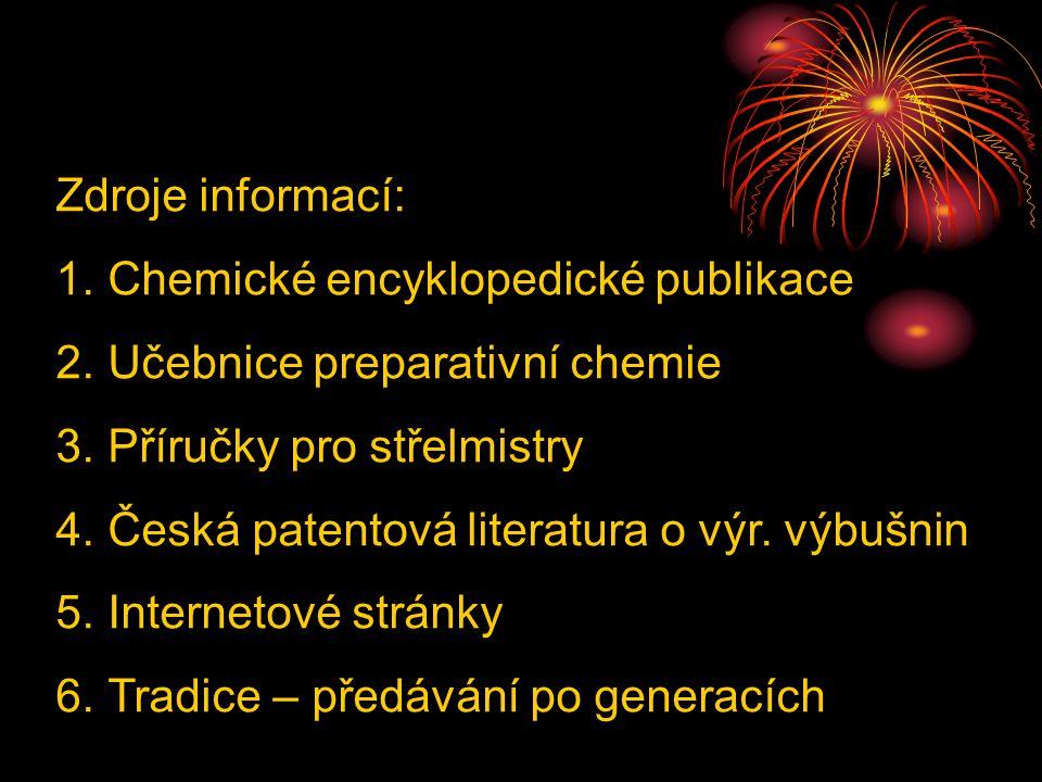 Zdroje informací: Chemické encyklopedické publikace. Učebnice preparativní chemie. Příručky pro střelmistry.