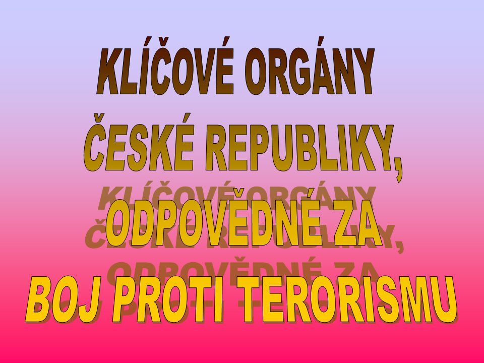 KLÍČOVÉ ORGÁNY ČESKÉ REPUBLIKY, ODPOVĚDNÉ ZA BOJ PROTI TERORISMU