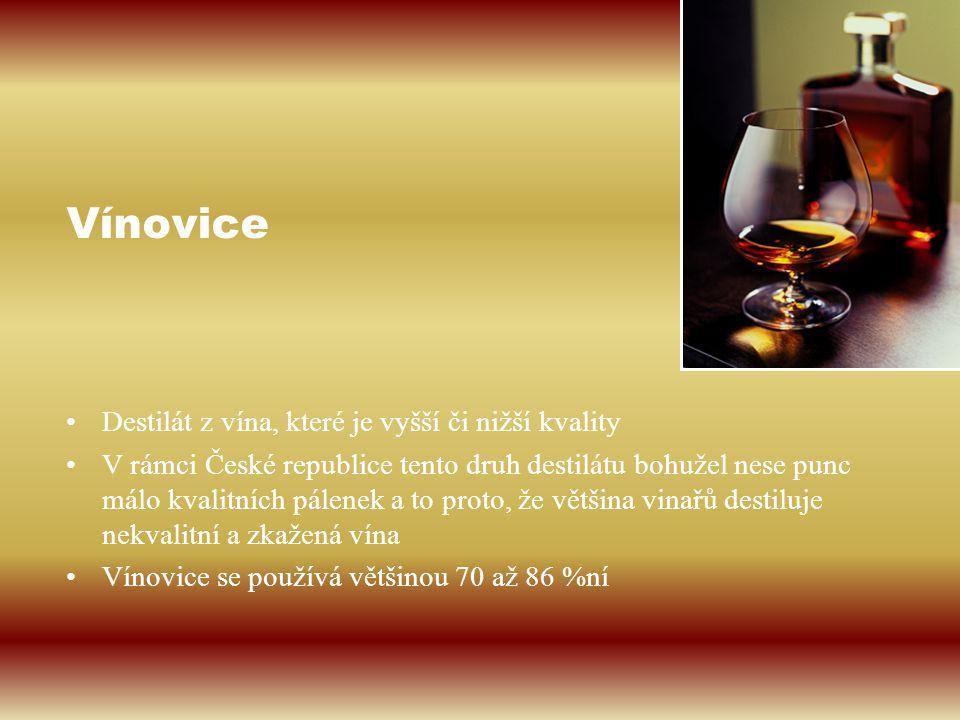 Vínovice Destilát z vína, které je vyšší či nižší kvality