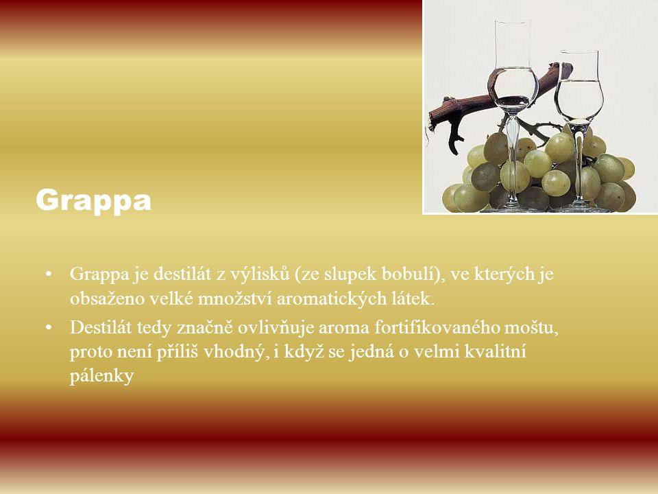 Grappa Grappa je destilát z výlisků (ze slupek bobulí), ve kterých je obsaženo velké množství aromatických látek.