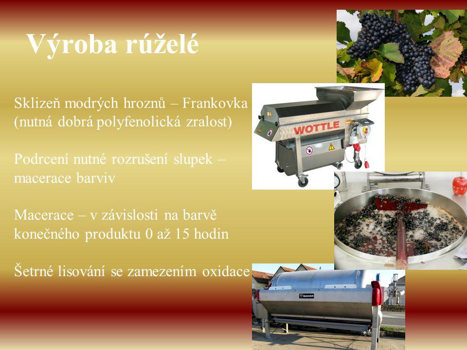 Výroba rúželé Sklizeň modrých hroznů – Frankovka (nutná dobrá polyfenolická zralost) Podrcení nutné rozrušení slupek – macerace barviv.