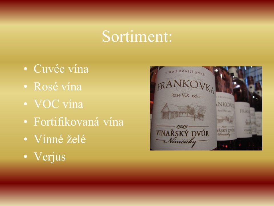 Sortiment: Cuvée vína Rosé vína VOC vína Fortifikovaná vína Vinné želé