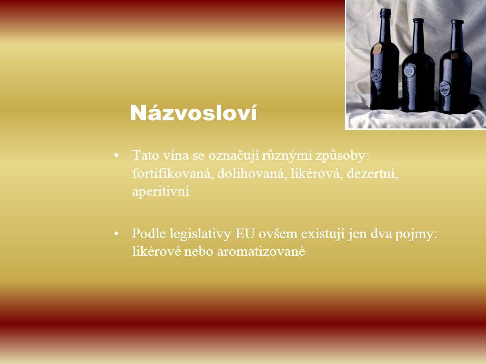 Názvosloví Tato vína se označují různými způsoby: fortifikovaná, dolihovaná, likérová, dezertní, aperitivní.