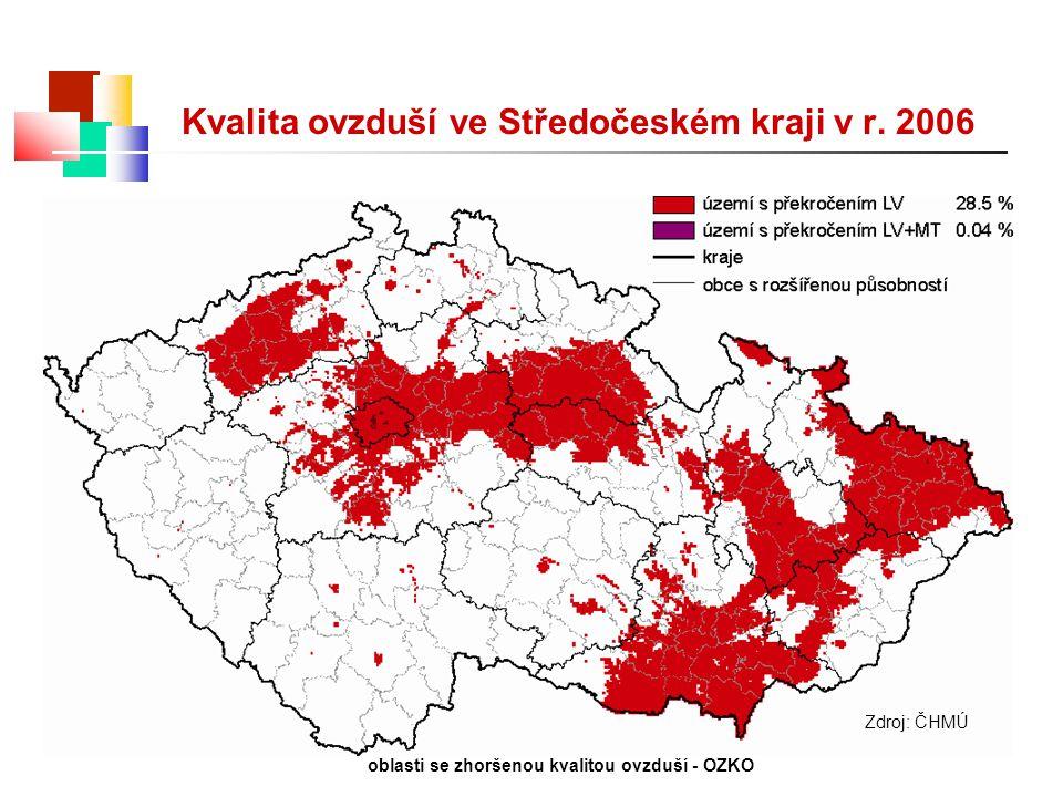 Kvalita ovzduší ve Středočeském kraji v r. 2006