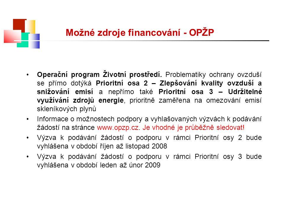 Možné zdroje financování - OPŽP