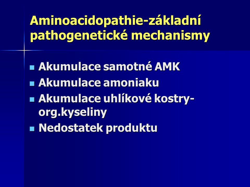 Aminoacidopathie-základní pathogenetické mechanismy