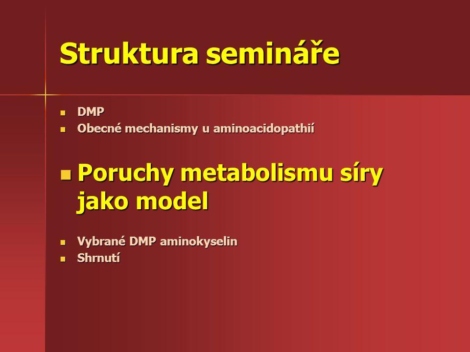 Struktura semináře Poruchy metabolismu síry jako model DMP
