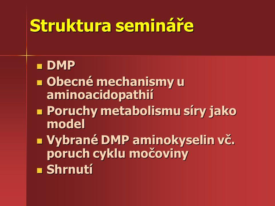 Struktura semináře DMP Obecné mechanismy u aminoacidopathií