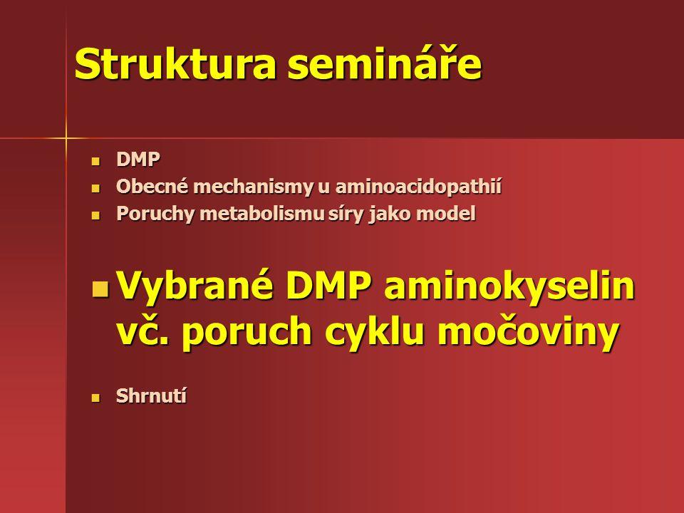 Struktura semináře Vybrané DMP aminokyselin vč. poruch cyklu močoviny