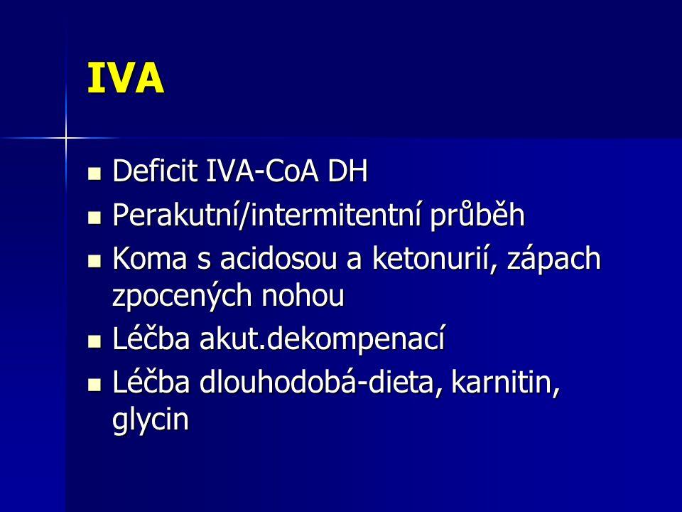 IVA Deficit IVA-CoA DH Perakutní/intermitentní průběh