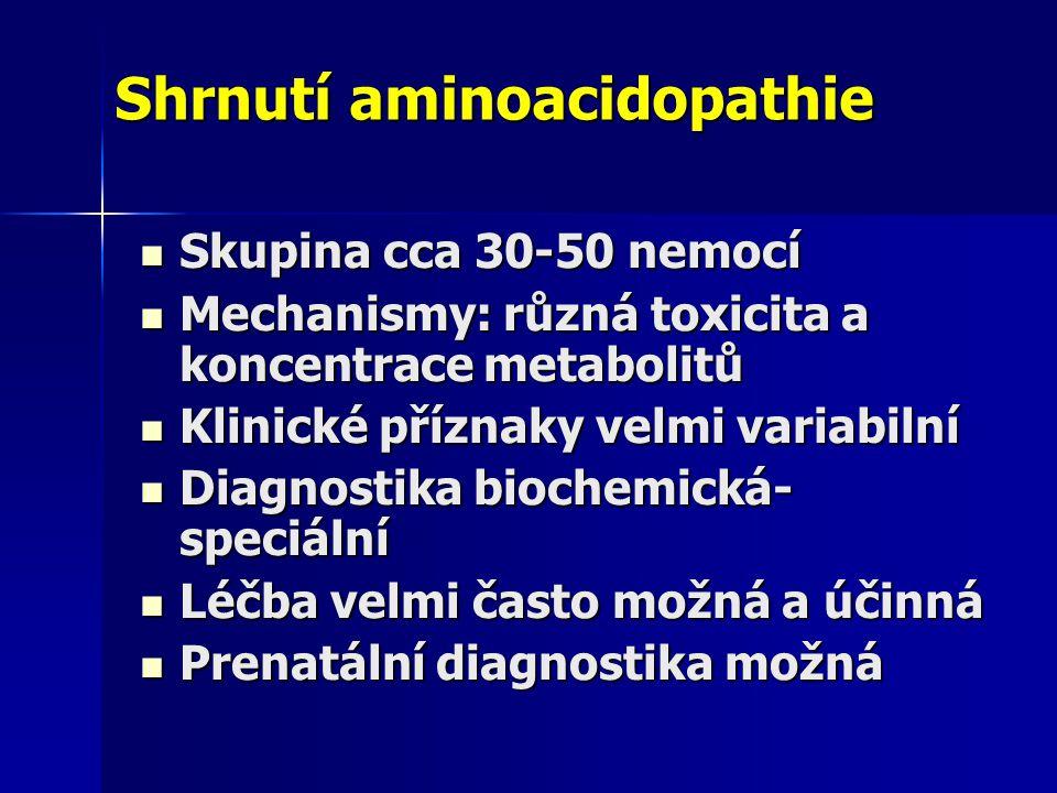 Shrnutí aminoacidopathie