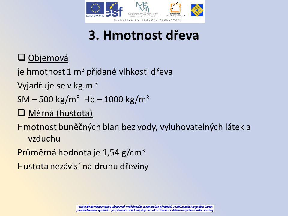 3. Hmotnost dřeva Objemová je hmotnost 1 m3 přidané vlhkosti dřeva