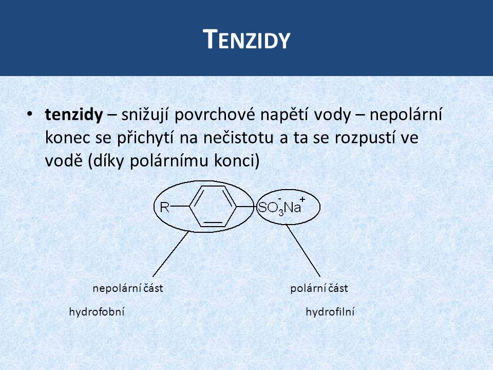 Tenzidy tenzidy – snižují povrchové napětí vody – nepolární konec se přichytí na nečistotu a ta se rozpustí ve vodě (díky polárnímu konci)