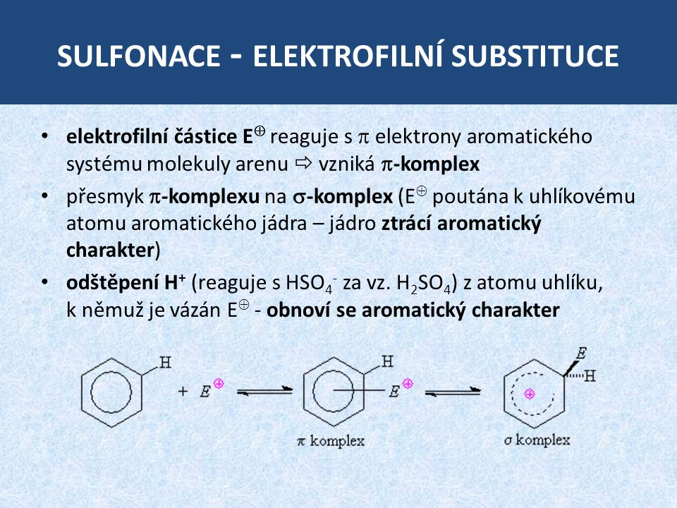 sulfonace - elektrofilní substituce