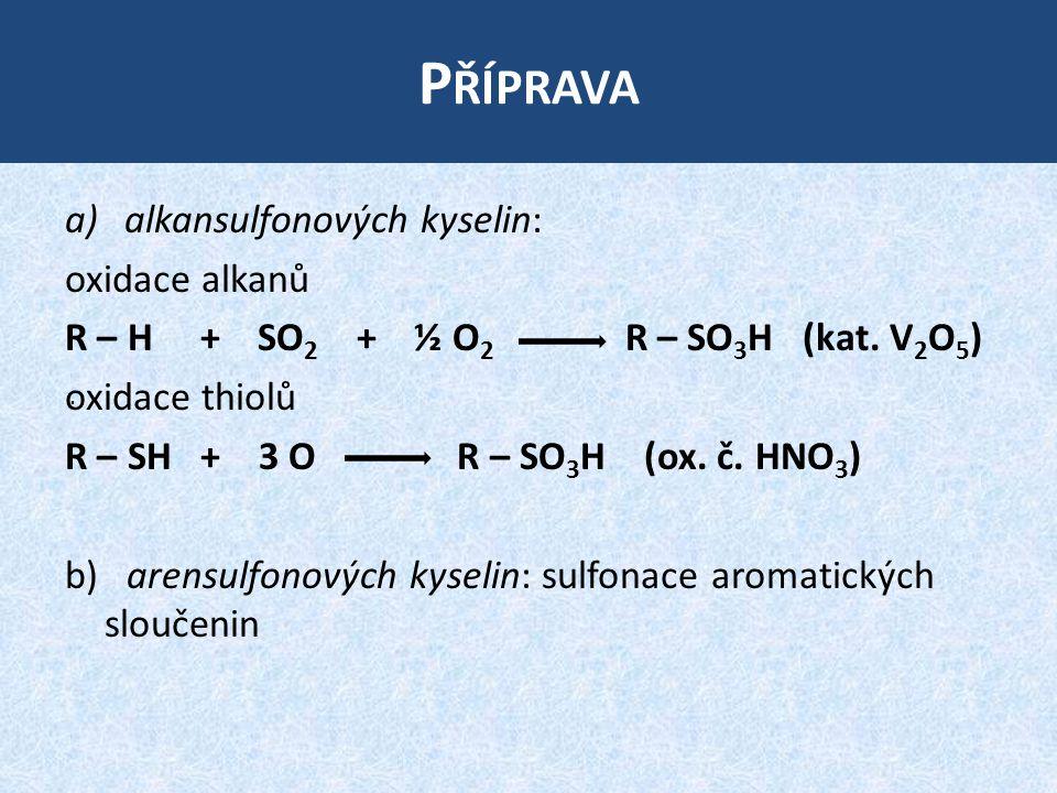 Příprava alkansulfonových kyselin: oxidace alkanů