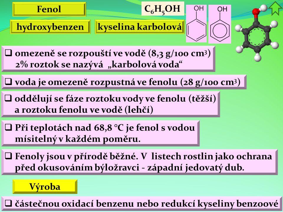 """Fenol C6H5OH. hydroxybenzen. kyselina karbolová. omezeně se rozpouští ve vodě (8,3 g/100 cm3) 2% roztok se nazývá """"karbolová voda"""