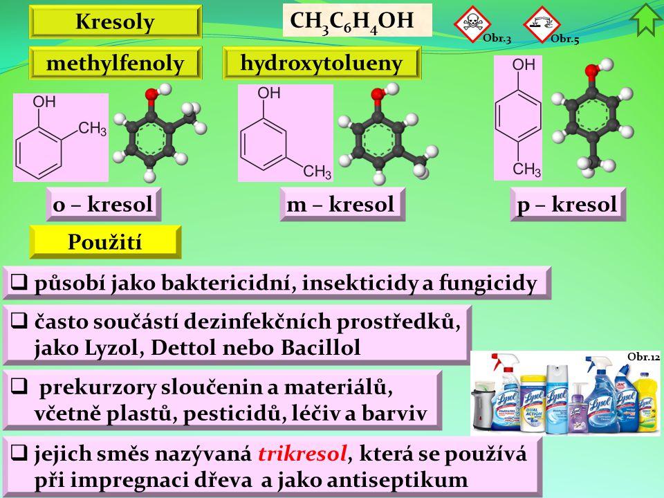 Kresoly methylfenoly hydroxytolueny Použití