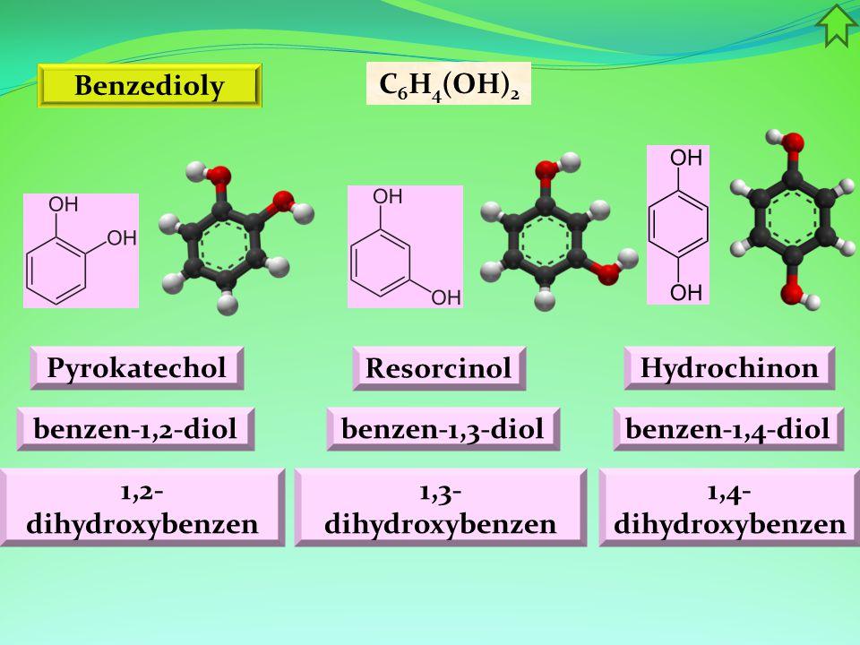 Benzedioly C6H4(OH)2. Pyrokatechol. Resorcinol. Hydrochinon. benzen-1,2-diol. benzen-1,3-diol.