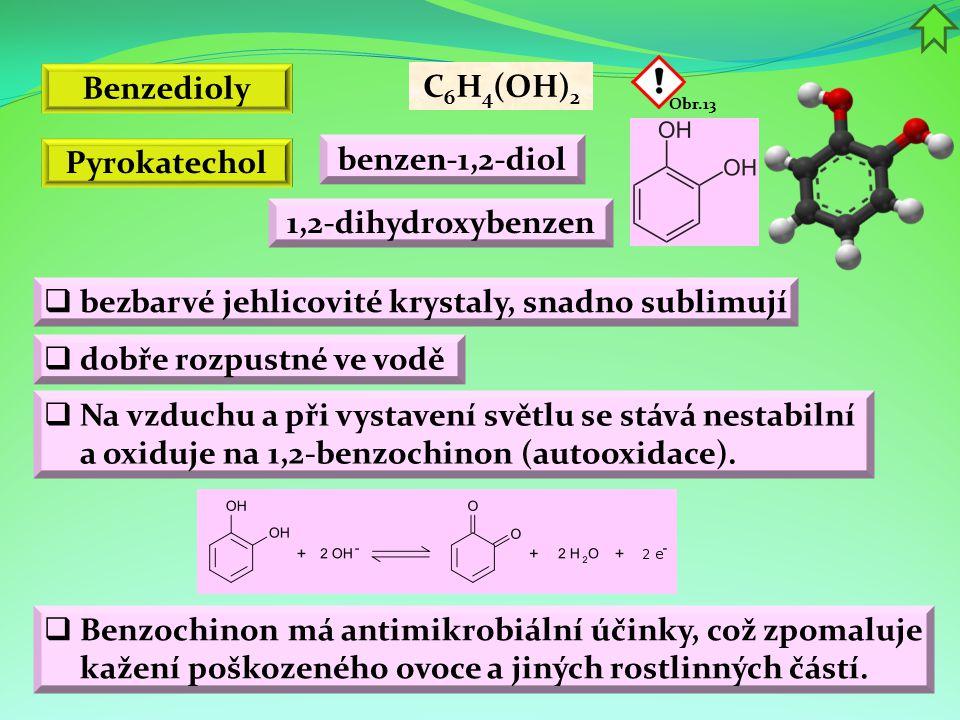 Benzedioly C6H4(OH)2 Pyrokatechol benzen-1,2-diol 1,2-dihydroxybenzen