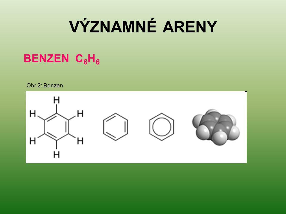 VÝZNAMNÉ ARENY BENZEN C6H6 Obr.2: Benzen