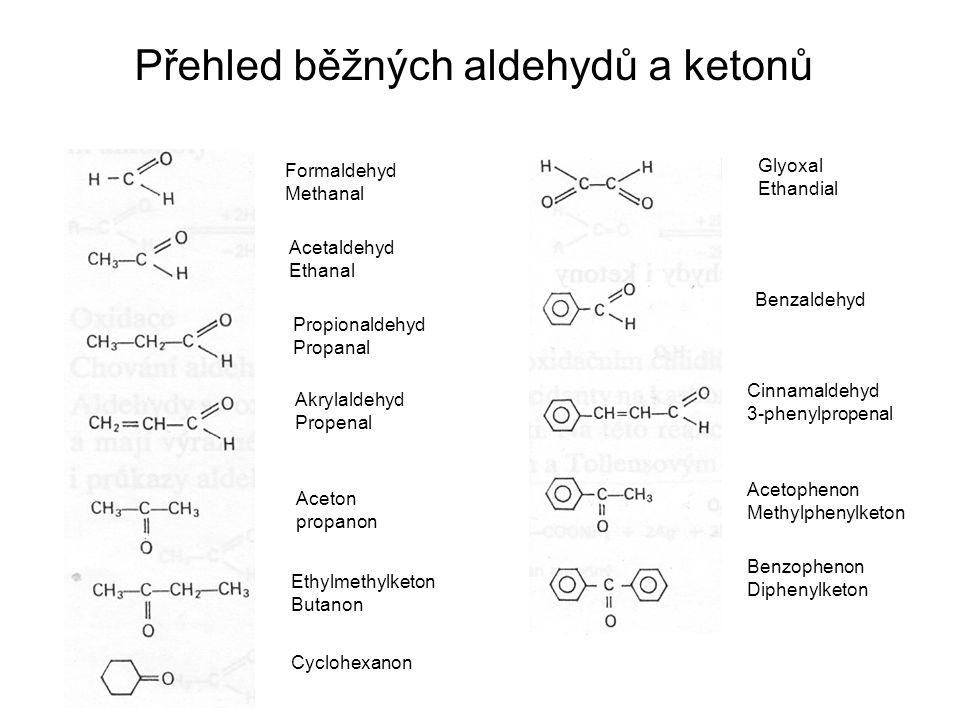 Přehled běžných aldehydů a ketonů