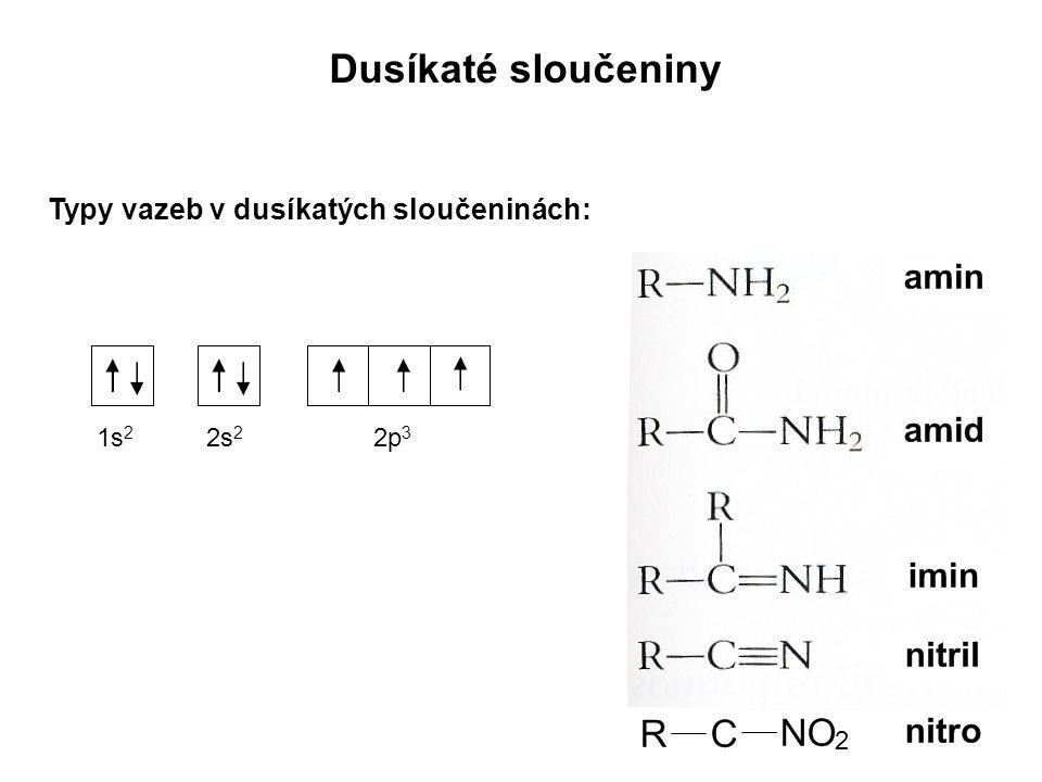 Dusíkaté sloučeniny Typy vazeb v dusíkatých sloučeninách: 1s2 2s2 2p3