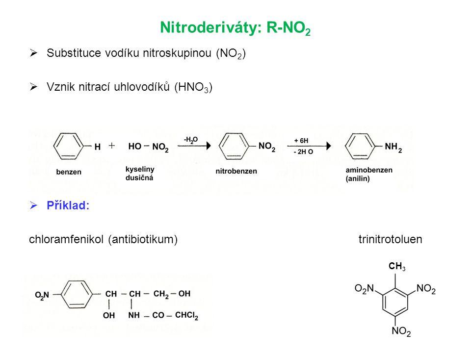 Nitroderiváty: R-NO2 Substituce vodíku nitroskupinou (NO2)