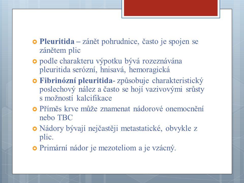 Pleuritida – zánět pohrudnice, často je spojen se zánětem plic