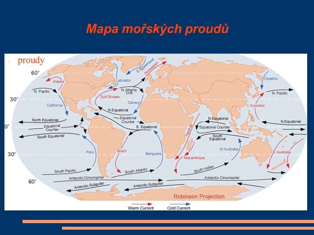 Mapa mořských proudů proudy