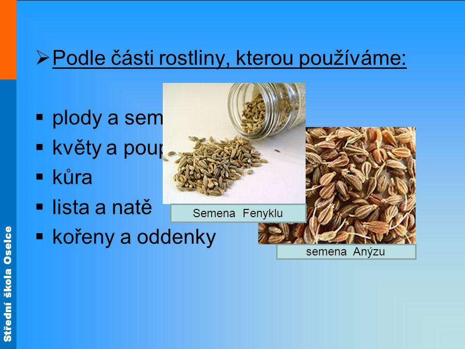 Podle části rostliny, kterou používáme: plody a semena květy a poupata