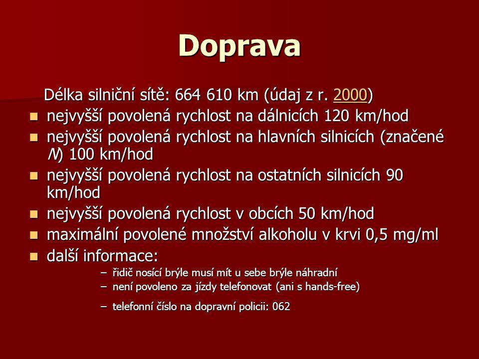 Doprava Délka silniční sítě: 664 610 km (údaj z r. 2000)