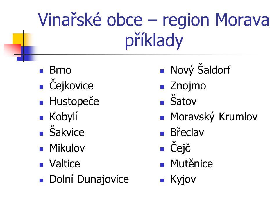 Vinařské obce – region Morava příklady