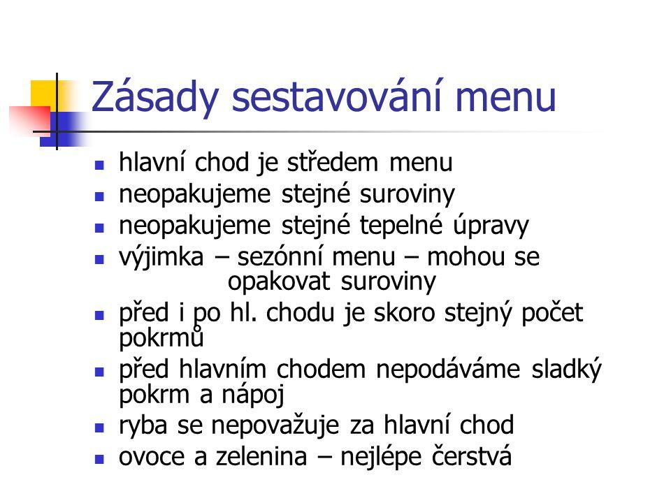 Zásady sestavování menu