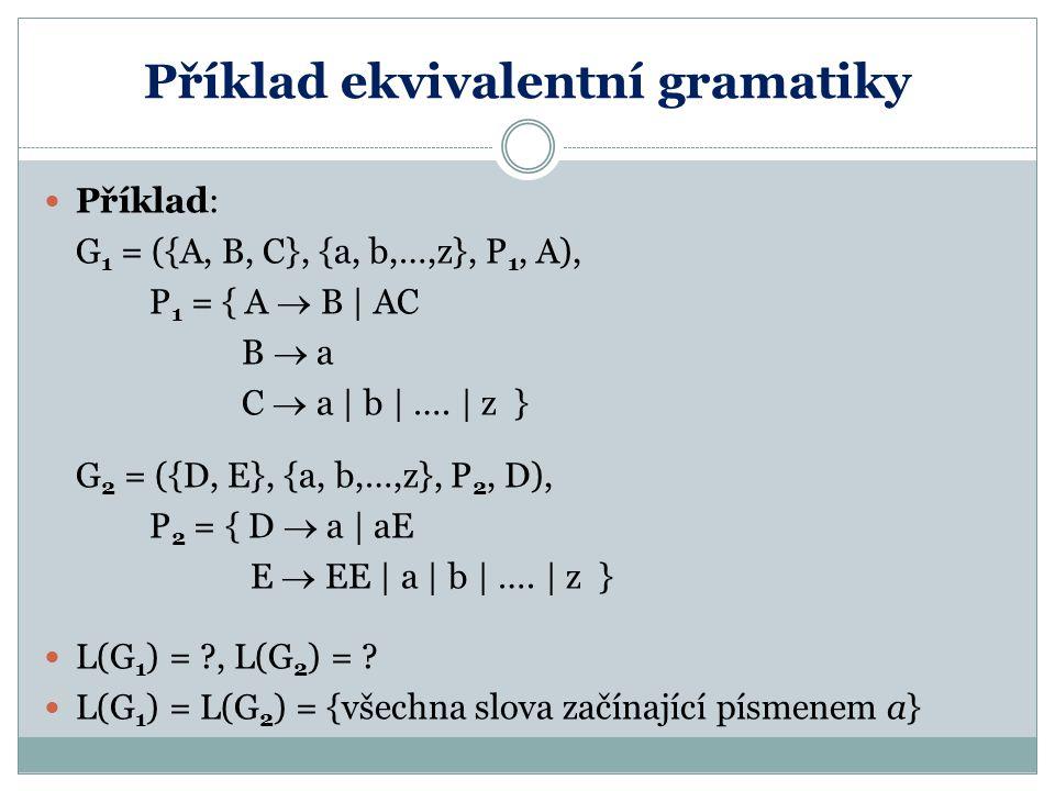 Příklad ekvivalentní gramatiky